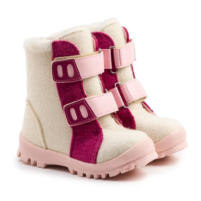 Валенки детские, цвет белый с розовым, размер 27