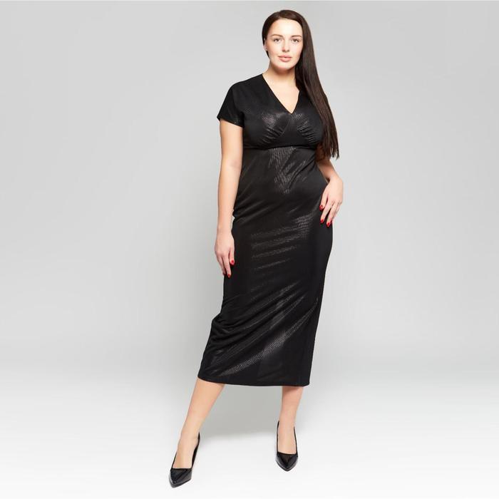 Платье женское MINAKU с люрексом, длинное, размер 52, цвет чёрный - фото 725225180