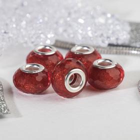 Бусина 'Гранёная льдинка' с блёстками, цвет красный в серебре Ош