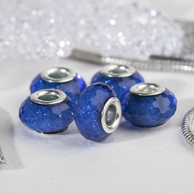 "Bead ""Faceted icicle"" sequins, color blue in silver"