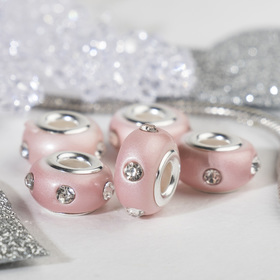 """Bead """"Diodes"""", the color light pink in silver"""