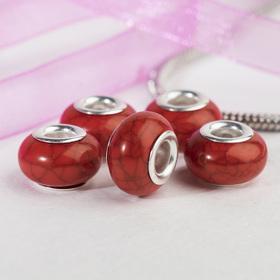 Бусина 'Текстура' под магнезит, цвет красный в серебре Ош