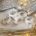 """Бусина """"Диоды"""", цвет белый в серебре"""