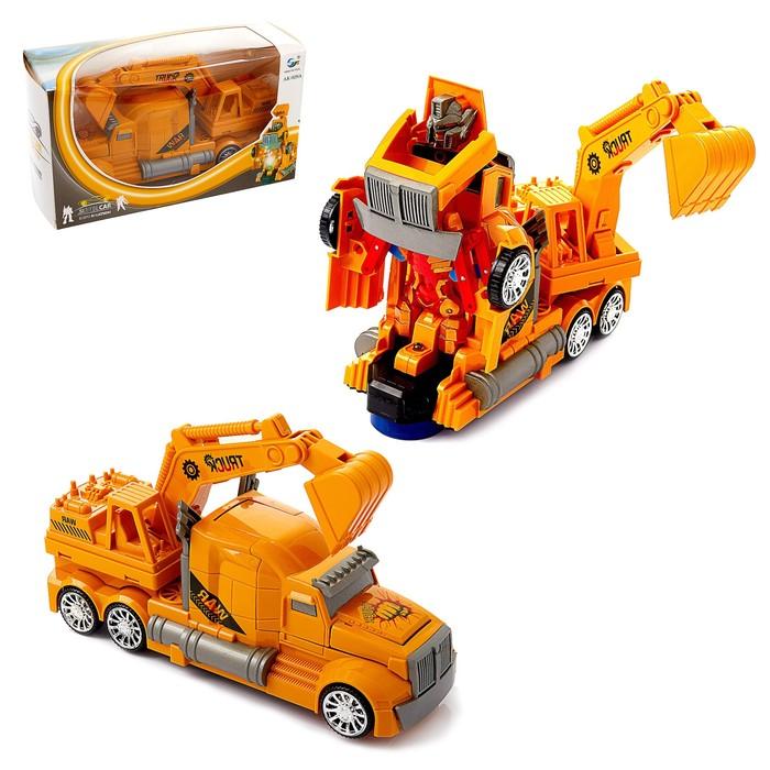 Робот «Автоэкскаватор», трансформируется, световые и звуковые эффекты, работает от батареек - фото 1013272