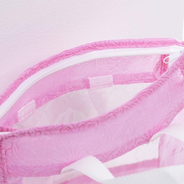 Косметичка ПВХ, отдел на молнии, цвет розовый