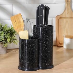 Подставка для ножей «Зефир», 20×11×22 см, с наполнителем, цвет чёрный