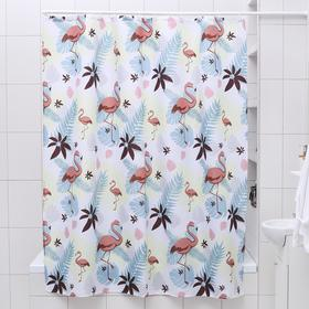 Штора для ванной комнаты Доляна «Фламинго», 180×180 см, полиэстер