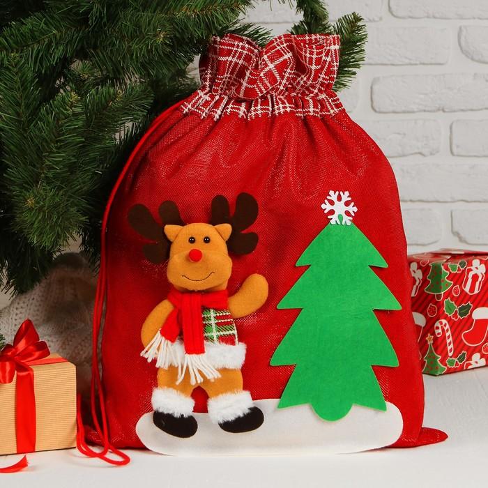 Мешок Деда Мороза «Олень», с ёлочкой