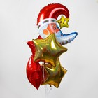 "Foil balloon, 18"" ""Santa Claus with star"", set of 6pcs., color red"