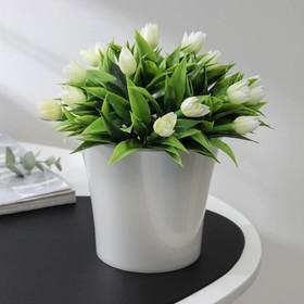 Кашпо со вставкой «Арте», 1,2 л, цвет жемчуг-прозрачный