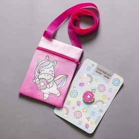 "Baby gift set ""one unicorn's"" bag+ brooch"