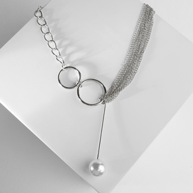 "Кулон с жемчугом ""Цепь"" звено, цвет белый в серебре, 32 см - фото 7384244"