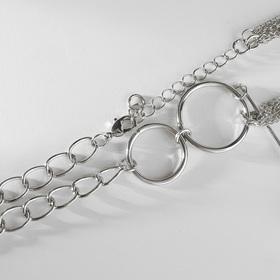 "Кулон с жемчугом ""Цепь"" звено, цвет белый в серебре, 32 см - фото 7384245"