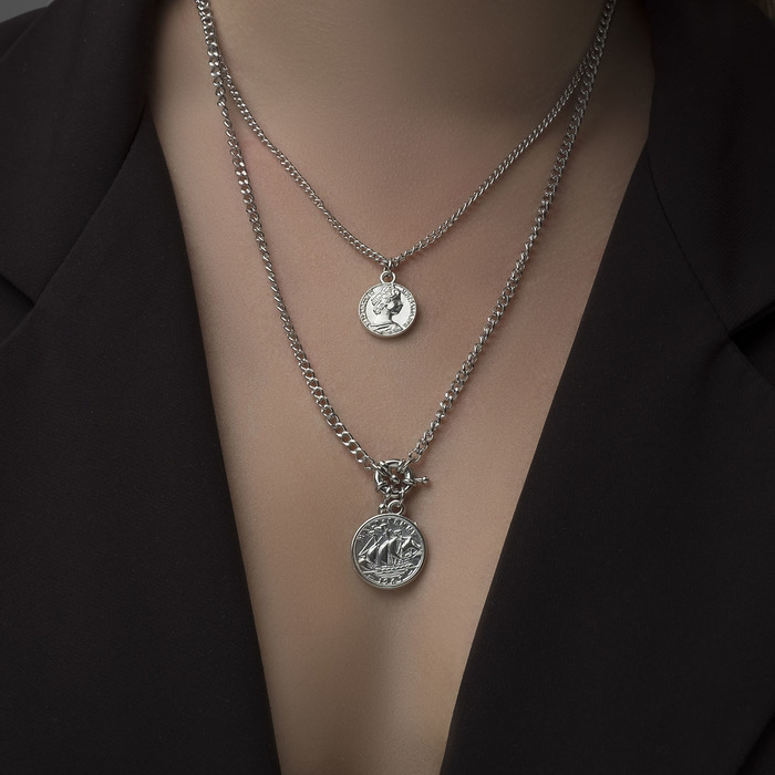 "Кулон ""Цепь"" два медальона, цвет серебро, 50см"