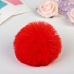 """Pompom faux fur """"Red"""" d=7 cm"""