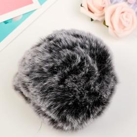"""Pompom faux fur """"silver Fox"""" d=9 cm"""