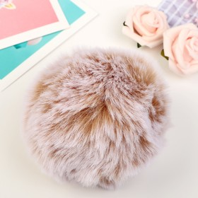 "Pompom faux fur ""Beige with white tips"" d=9 cm"