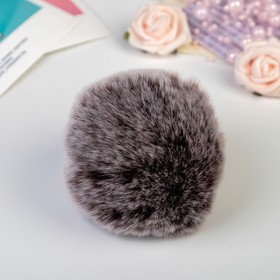 "Pompom faux fur ""Dark chocolate with white tips"" d=9 cm"