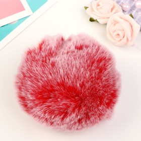 "Pompom faux fur ""Red with white tips"" d=9 cm"