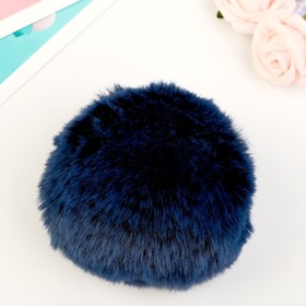 "Pompom faux fur ""Black with blue tips"", d=9 cm"