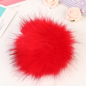 "Pompom faux fur ""Red with black tips"" d=13 cm"