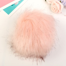 "Pompom faux fur ""Pink candy with black tips"" d=13 cm"