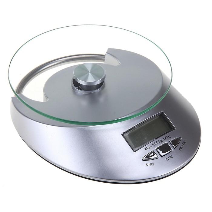 Весы электронные кухонные Luazon LVK-509 до 5 кг, встроенные часы