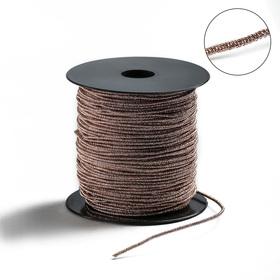Проволока для плетения в обмотке Люрекс, d=1.5мм, L=100м, цвет розовое золото