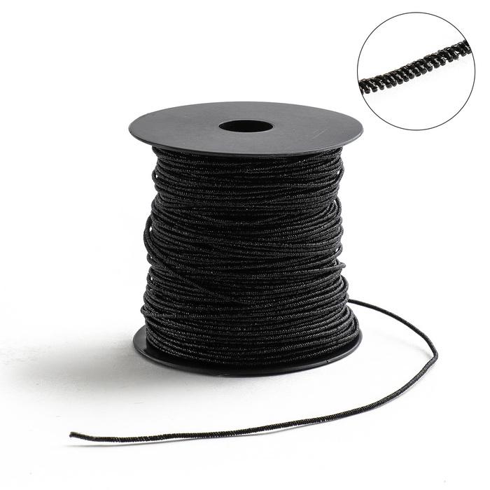 Проволока для плетения в обмотке Люрекс, d=1.5мм, L=100м, цвет черный