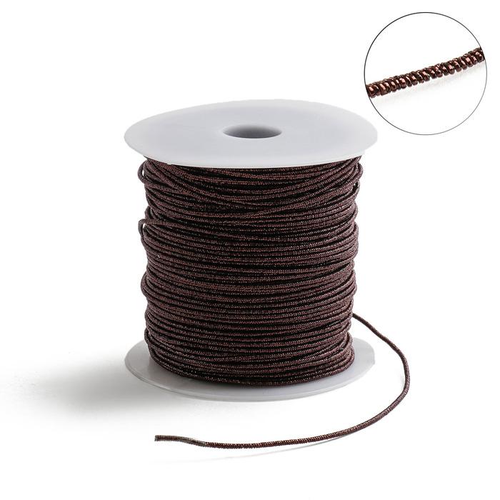Проволока для плетения в обмотке Люрекс, d=1.5мм, L=100м, цвет темно-коричневый