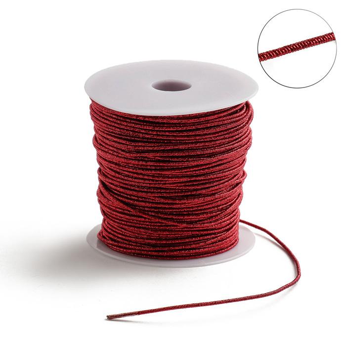 Проволока для плетения в обмотке Люрекс, d=1.5мм, L=100м, цвет красный