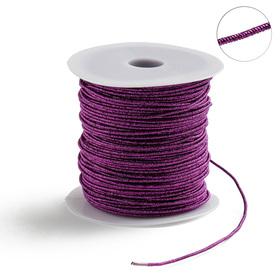 Проволока для плетения в обмотке Люрекс, d=1.5мм, L=100м, цвет фиолетовый