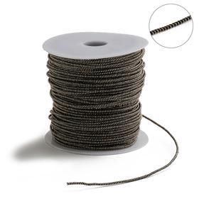 Проволока для плетения в обмотке Люрекс, d=1.5мм, L=100м, цвет черно-золотой