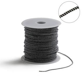 Проволока для плетения в обмотке Люрекс, d=1.5мм, L=100м, цвет черно-серебристый