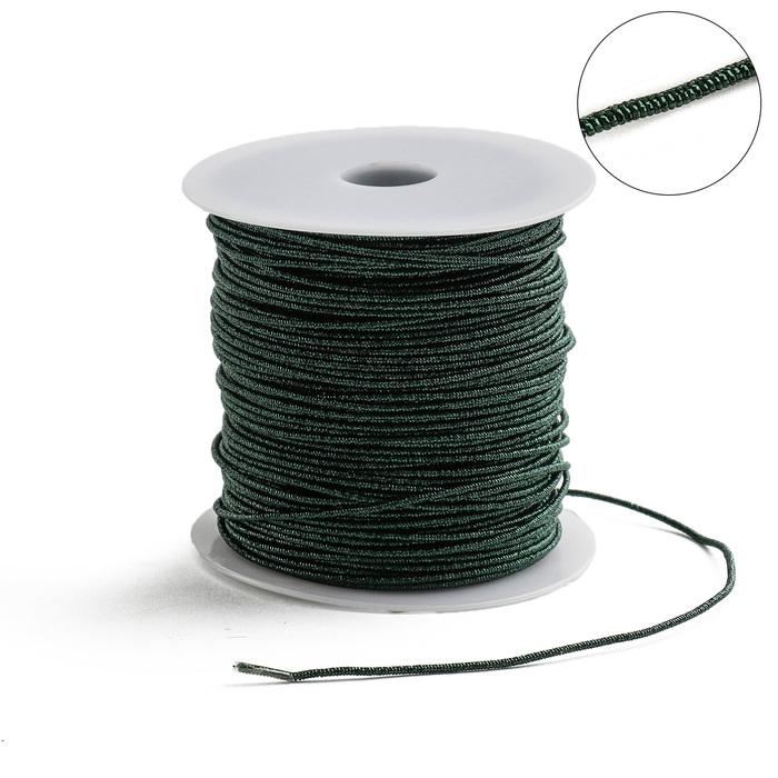 Проволока для плетения в обмотке Люрекс, d=1.5мм, L=100м, цвет темно-зеленый