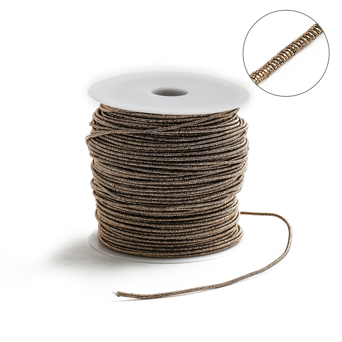 Проволока для плетения в обмотке Люрекс, d=2мм, L=100м, цвет медь