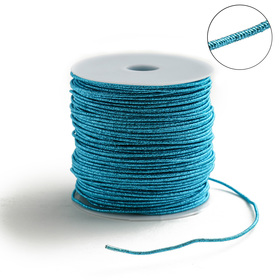 Проволока для плетения в обмотке Люрекс, d=2мм, L=100м, цвет голубой