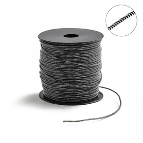 Проволока для плетения в обмотке Люрекс, d=2мм, L=100м, цвет черно-серебристый