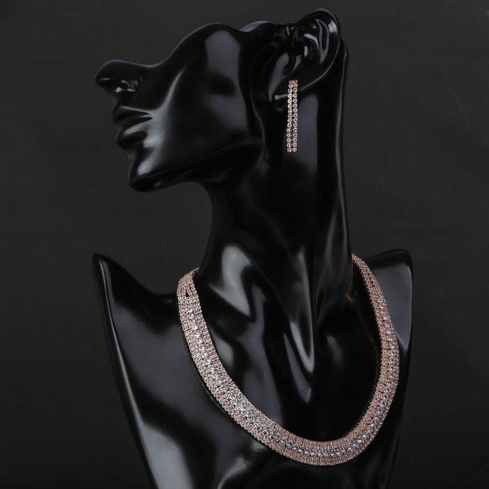 """Набор 2 предмета: серьги, колье """"Циркония"""" дары, цвет белый в розовом золоте, 36 см"""