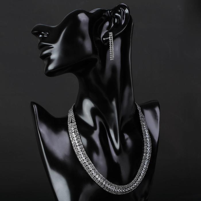 """Набор 2 предмета: серьги, колье """"Циркония"""" дары, цвет белый в сером металле, 36 см"""