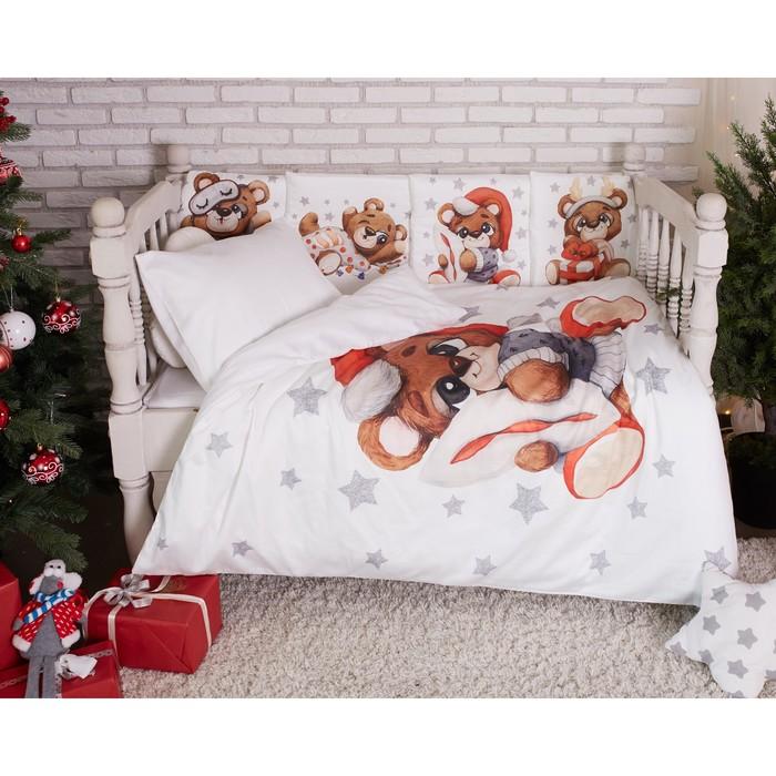 Постельное бельё Крошка Я «Новогодний Мишка» 147×112, 60×120+20, 40×60-1шт, 100% хл, сатин