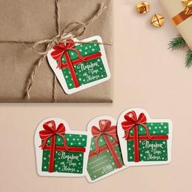 Шильдик на подарок Новый год «Подарок от Деда мороза», 6,5 ×6,8  см