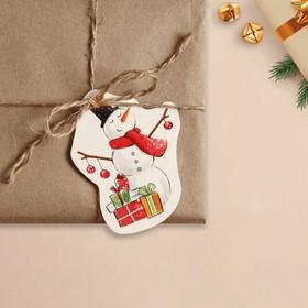 Шильдик на подарок Новый год «Снеговик», 6,5 ×8,4  см