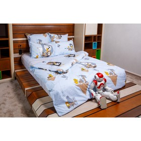 Постельное бельё 1,5сп «Коты-Пираты», 215х145 см, 220х150 см, 70х70 см, поплин