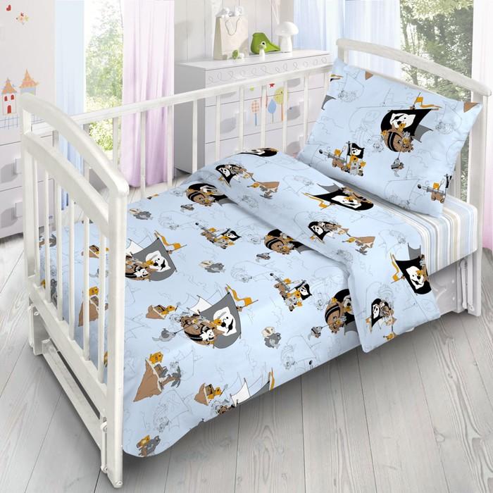 Детское постельное бельё «Коты-Пираты», 140х110 см, 110х140см, 40х60 см, поплин - фото 725344413