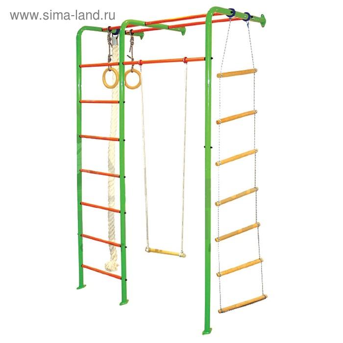 Детский спортивный комплекс №2 с трапецией, кольцом, верёвочной лестницей и канатом
