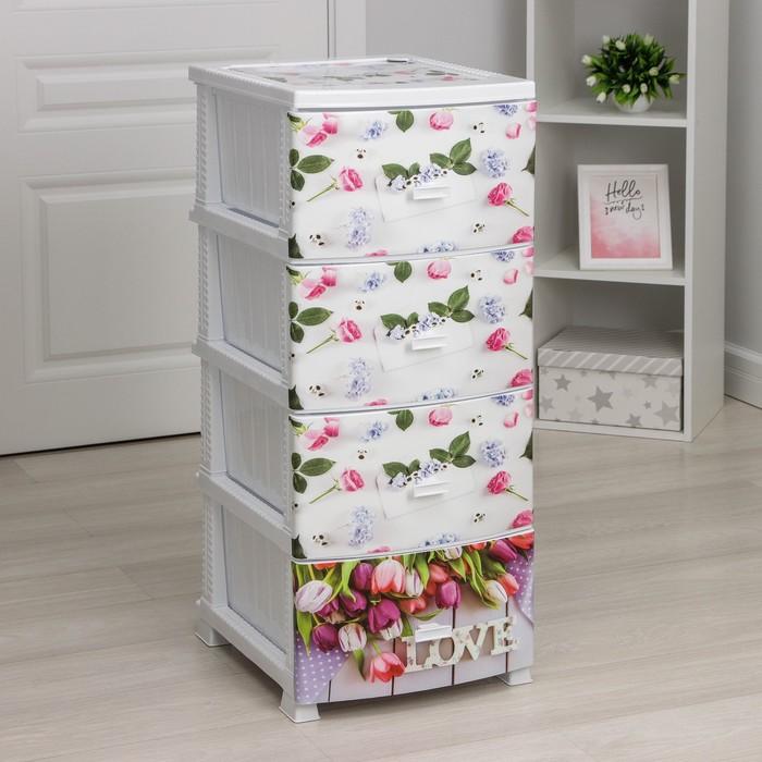 Комод 4-х секционный Росспласт «Декор. Весна», цвет белый