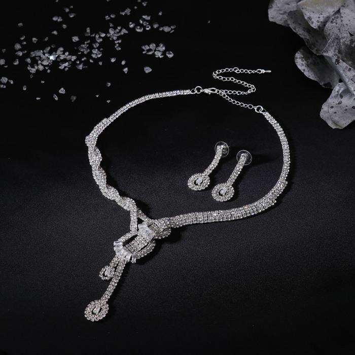 """Набор 2 предмета: колье, серьги """"Кристаллик"""", узел, цвет белый в серебре"""