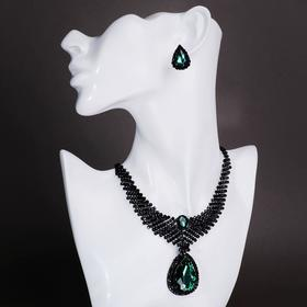 "Set of 2 pieces: earrings, necklaces ""Vernissage"" drop, color emerald in black metal"