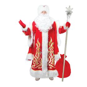 Карнавальный костюм «Дед Мороз королевский», аппликация золотистая, р. 56-58